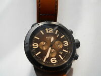 Fossil men's chronograph brown leather band.Quartz,battery Analog watch.Ch-2666