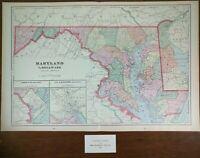 """MARYLAND DELAWARE DC 1902 Vintage Map 22""""x14"""" ~ Old Antique Original ROCKVILLE"""