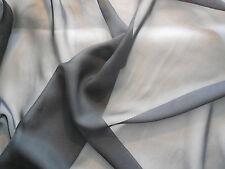 Nero Alta Qualità Tessuto di chiffon poliestere ABBIGLIAMENTO FAI DA TE 150cm