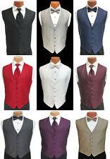 Men's Herringbone Fullback Tuxedo Vest & Tie Red Black White Purple Grey Silver