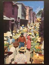 Antique POSTCARD c1960-70s Vegetable Market BRIDGETOWN, BARBADOS (20221)