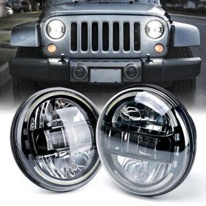 "Xprite 7""Inch Black LED Headlights w/ Halo DRL for 1997-2018 Jeep Wrangler TJ JK"
