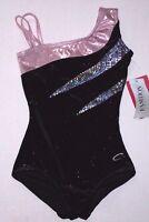 Nwt New Capezio Leotard Leo Velvet Hologram Glitter Asymmetrical Pink Black Girl