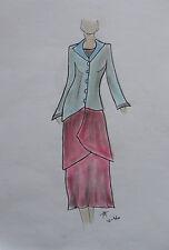 ORIGINAL MODEZEICHNUNG Modeskizze Damen fashion sketches 10-460