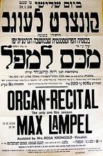 1928 Palestine ORGAN RECITAL POSTER Israel IMMANUEL CHURCH JAFFA Bach BUXTEHUDE
