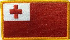 TONGA  FLAG  Iron-On Patch Military Emblem Gold Border