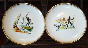 2 Aboriginal Themed Plates Rembrandt Australia Early 1960's Palette Mark VGC