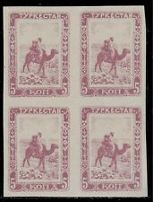 TURKESTAN ( Now Part of Russia ) 1921 Block of 4 Mint Stamps - Native on Camel