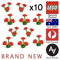 Genuine LEGO® - Flowers - Red with Green Stem - Brand new - x10 (40 parts)
