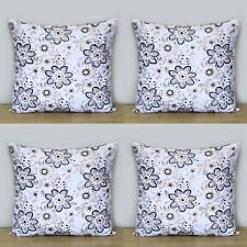 Black 16x16 Hand block Cushion Covers Indian Cotton Pillow Case 4 Pcs Set Floral