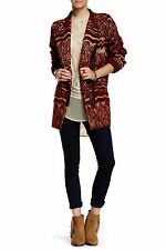 $500 NWT Free People Faux Fur Patterned Asymmetrical Zip Tribal Coat Jacket, XS