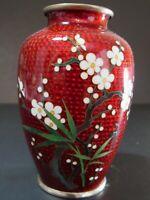 Vintage Japanese Cloisonne Ando Shippo Red Enamel Cherry Blossom Ikebana Vase