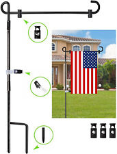 Garden Yard Flag Stand Holder Pole With Stopper Anti Wind Clip Easy Install