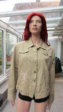 L'Argentina - Jacke im Jeansjackenstil  halbleinen Gr. 46 grünbeige Bestickungen