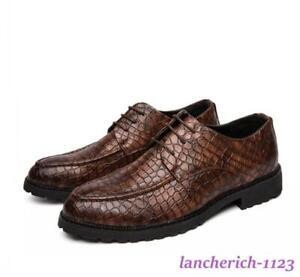 Men's Retro Crocodile Business Shoes Lace Up Moccasins Casual Comfort Oversize