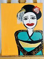 HST Vintage (1970s) Expressionist Mexican Señorita Portrait Oil on Canvas