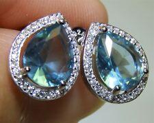 SILVER AQUA BLUE TOPAZ PEAR SHAPED CLUSTER STUD EARRINGS 925 STERLING