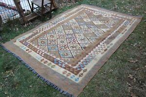 """Vintage Handmade Turkish Oushak Office Area Kilim Rug 104""""x73"""", 264x185cm"""