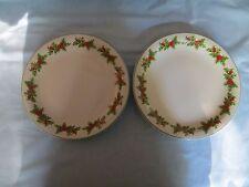 """Schmidt Brazil Porcelain Christmas Holly Berries Set of 2 Dinner Plates 10"""" EC"""