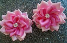 4 applique fleur satin  40mm rose claire et rose foncé ,scrapbooking.