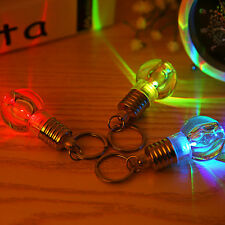 Mini Colorful LED Flash Light Lamp Bulb Pendant Keychain Glow In Dark Key Ring