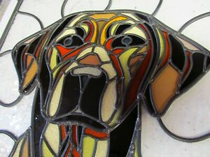 Newly crafted TRADITIONAL Leaded Stained Glass Window Panel DOG 435mm by 442mm