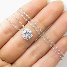 """Signed14K White Gold Round C Z Classic Pendant Chain Necklace 18"""""""