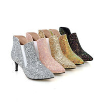 Women's Mid Kitten Heel Pointed Shoes Shiny Glitter Ankle Boots UK Size 1~8 O117