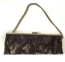 2670c76d3f2 Jessica Mcclintock Brown Crinkled Faux Leather Evening Bag Brushed Gold  Chain