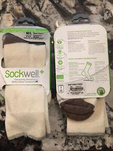 SOCKWELL WOMEN'S EASY DOES IT CREW SOCKS Diabetic Friendly SIZE M/L  NEW  2 Pair