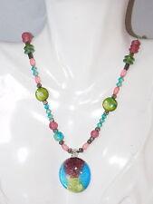 "Pink Green Aqua Dichroic Glass Pendant Bead Strand 18"" Necklace 4a 42"