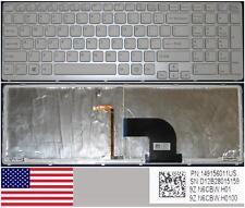 Clavier Qwerty US SONY SVE15 149156011US 9Z.N6CBW.H01 BACKLID Blanc/White
