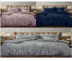 Stylish Teddy Bear Fleece Wave Duvet Cover Set Warm Cosy Soft Bedding Set