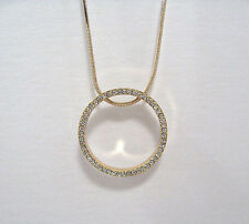 14k Yellow Gold Plated Women Big Ring Pendant Necklace CZ Stones & Long Chain