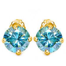 1.51 CT BLUE DIAMOND MOISSANITE (VVS) 14KT SOLID YELLOW GOLD EARRINGS STUD