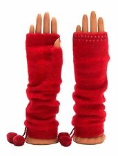 Woman'st Winter RED FINGERLESS GLOVES Arm-warmers  Elegant Crystal Pompom