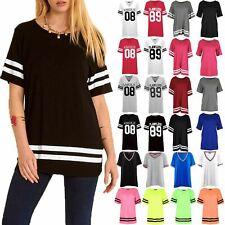 Womens Varsity T Shirts Ladies Sleeve Stripe Baggy Oversize Baseball Top 8-22