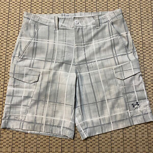 Under Armour Heat Gear Performance Cargo Shorts - Plaid, Green Marbled - Mens 36