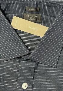 16 x 35 J CREW Destination Ludlow Dress Shirt Navy Ivory Dobby Micro Dot K3114