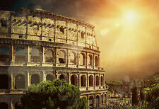 STUNNING ROME COLOSSEUM CITY SKYLINE CANVAS #500 WALL HANGING PICTURE ART A1