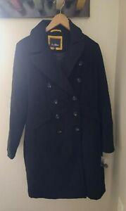 New Sam Edelman Double Breasted Walker Coat Size 10 Black Wool Button Down $220