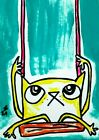"""Original ACEO Cat Painting """"Swing Kitty"""" Miniature Art By Samantha McLean"""