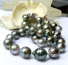 RARE BIG GENUINE SALTWATER TAHITIAN SOUTH SEA PEARL 14K SOLID GOLD NECKLACE