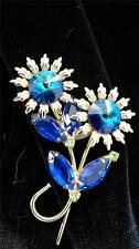 Vintage Juliana Style Silvertone Cobalt Rivoli Perdot Rhinestone Flower Brooch