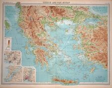 """1920 LARGE MAP ~ GREECE & THE AEGEAN ~ INSET ENVIRONS ATHENS  23"""" x 18"""""""