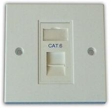 5x Cat 6 1 Way Data Network Outlet, Faceplate, Module. LAN Ethernet Flush Mount