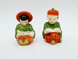 Pair of Antique Japanese Hand Painted Porcelain Salt & Pepper Shakers B8970