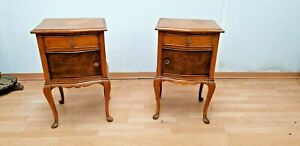 2 Vintage wood Queen Anne Nightstand Bedside End table 1950´s
