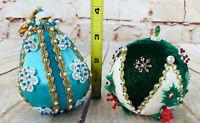 Vtg Holiday Handmade Pin Ball Ornaments Christmas Tree Decoration set of 2