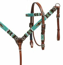 Leather Western Bridle Reins & Breast Collar w/ Beaded Indian Design & Crosses